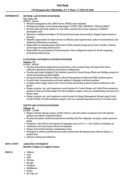 engineer  system engineer resume samples