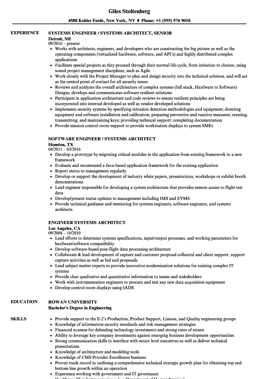 Download Engineer Systems Architect Resume Sample As Image File