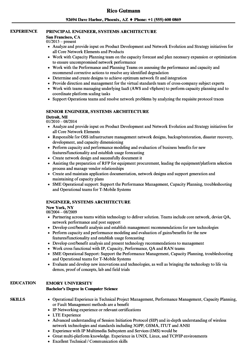 engineer  systems architecture resume samples