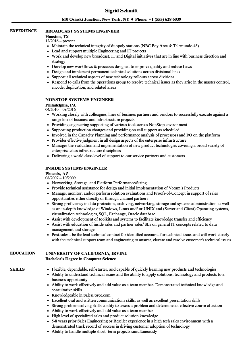 Engineer Systems Engineer Resume Samples Velvet Jobs