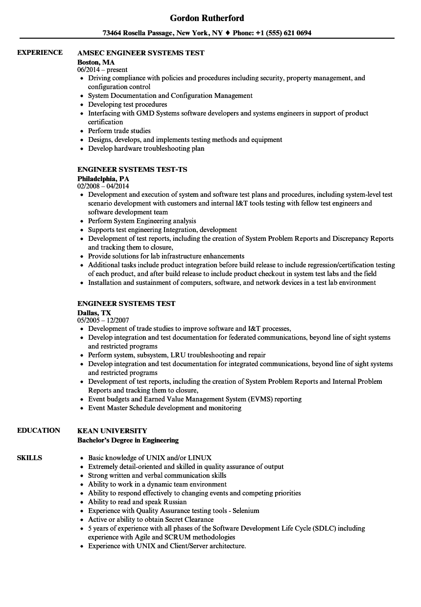 engineer systems test resume samples