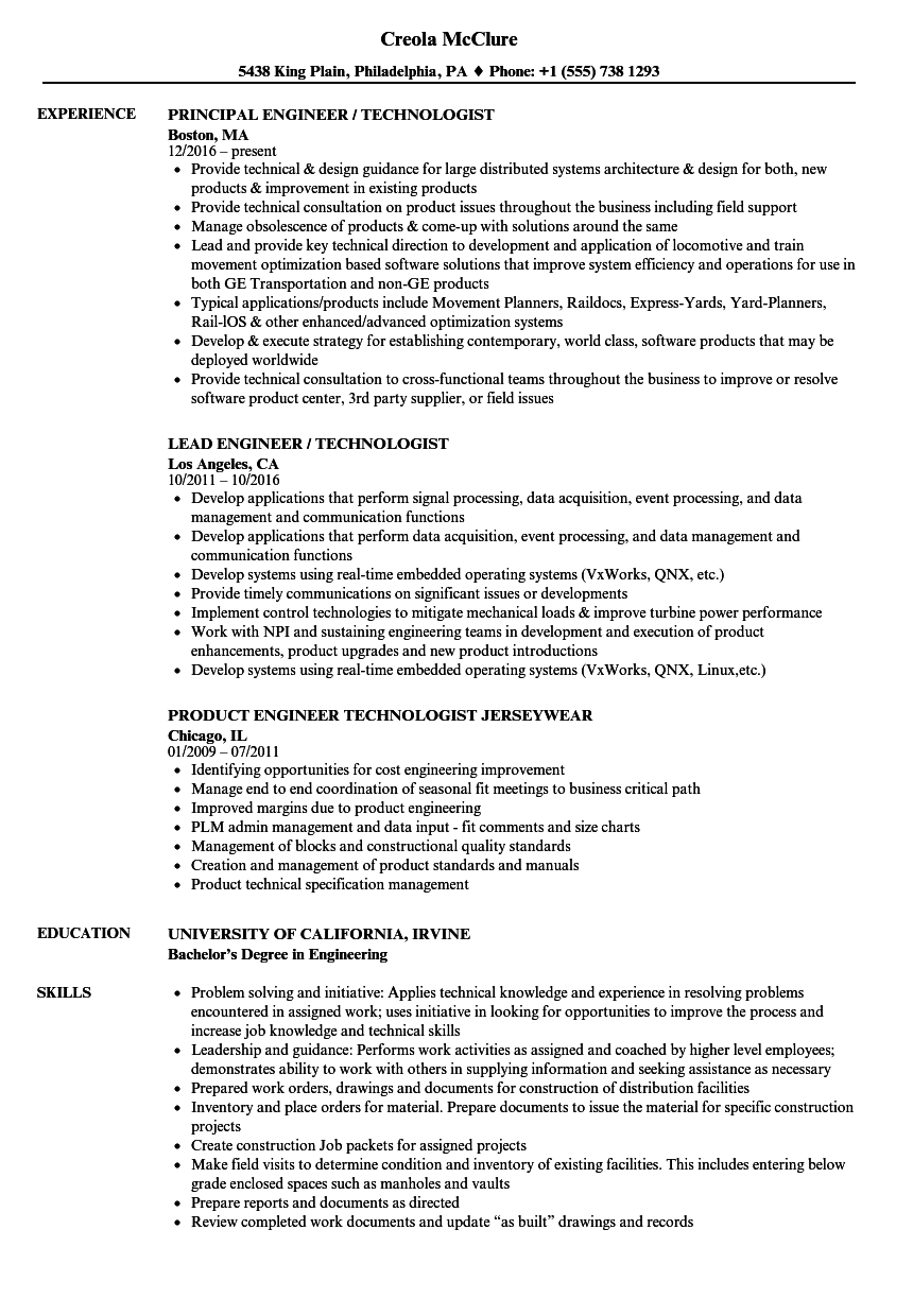 download engineer technologist resume sample as image file - Demonstrated Abilities Resume Examples