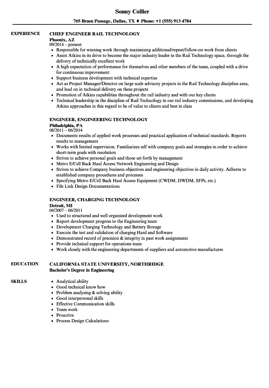 engineer technology resume samples