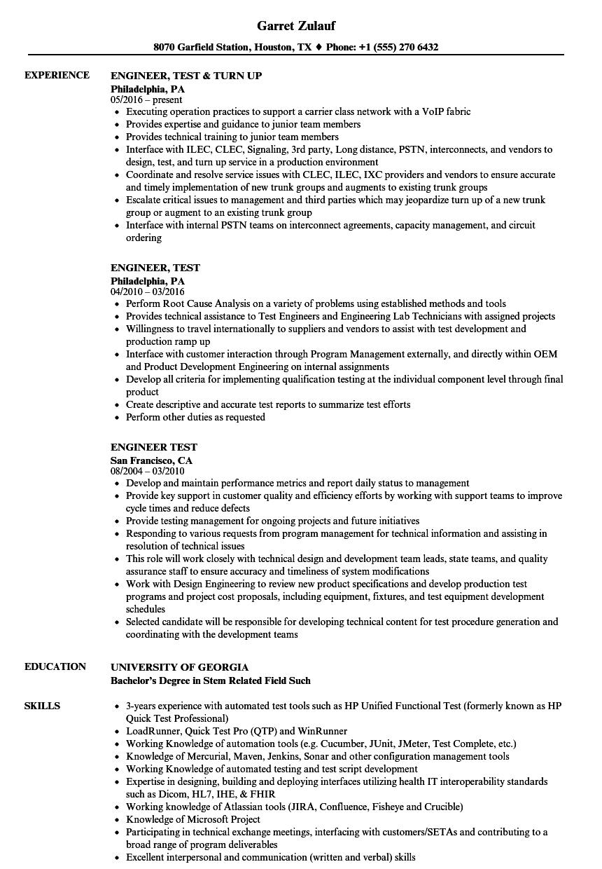 engineer test resume samples
