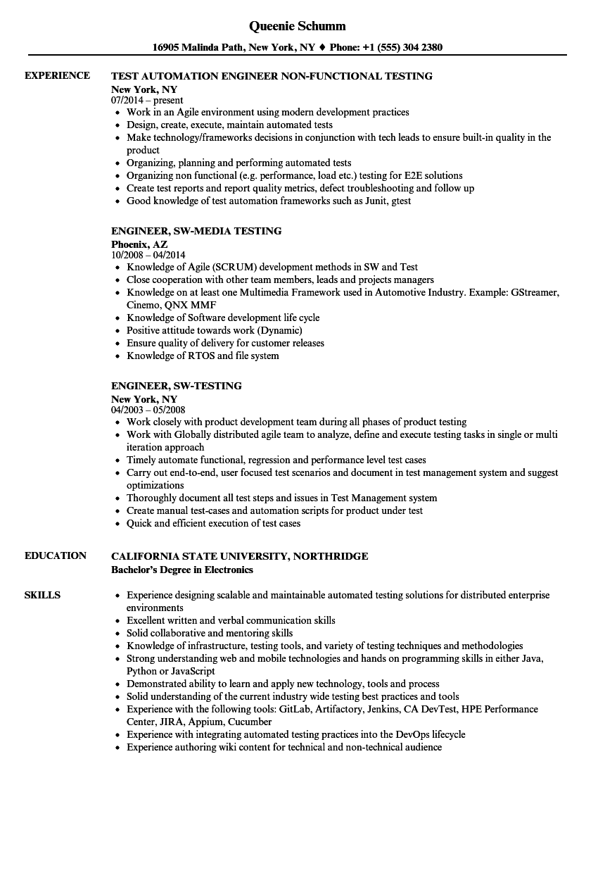 Engineer Testing Resume Samples | Velvet Jobs