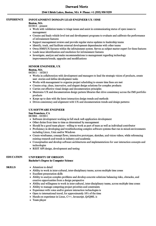 Engineer Ux Resume Samples Velvet Jobs