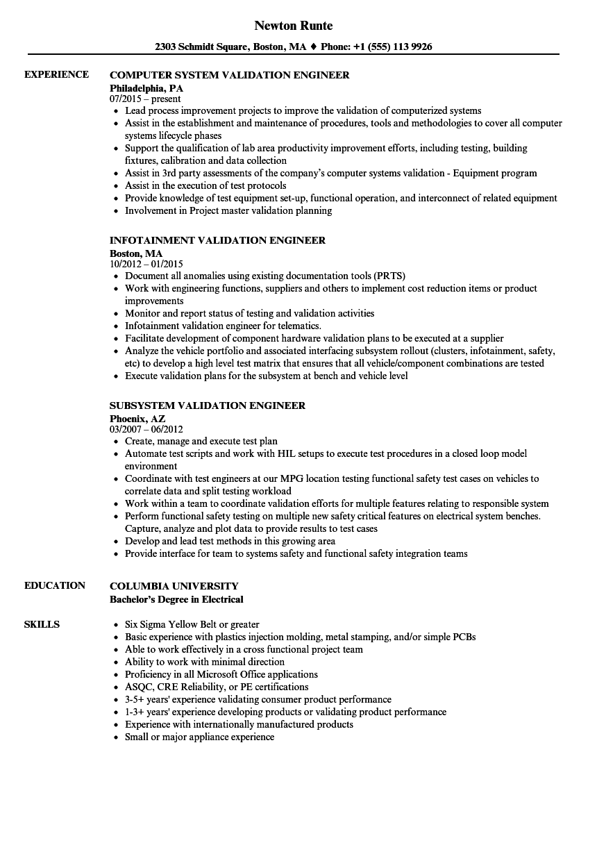 Engineer, Validation Resume Samples | Velvet Jobs