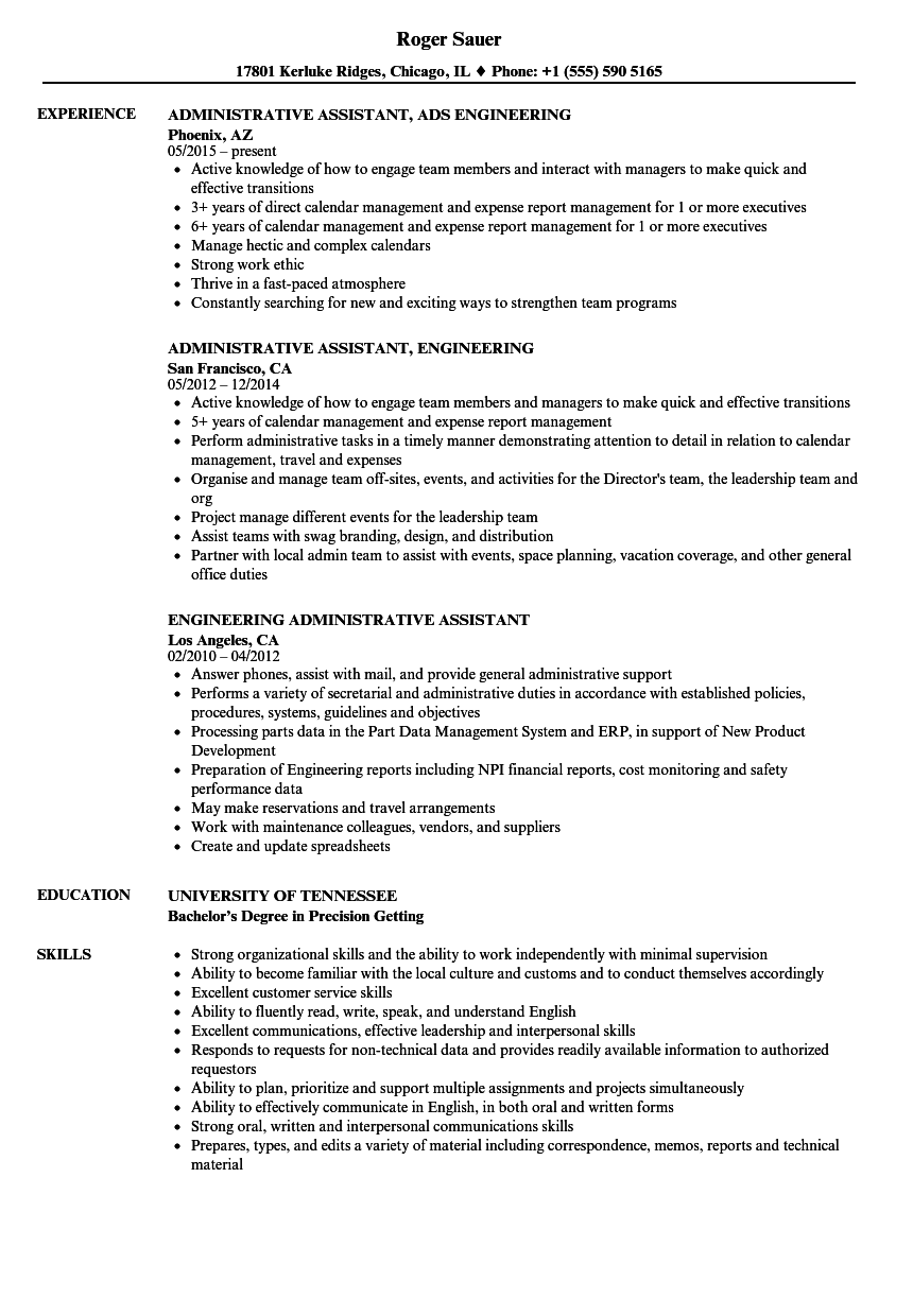Engineering Administrative Assistant Resume Samples | Velvet Jobs