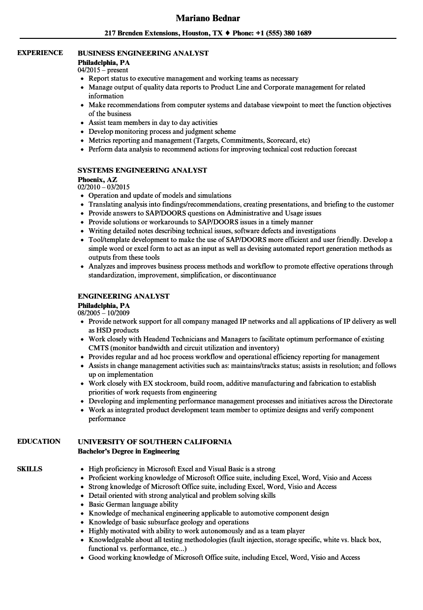Engineering Analyst Resume Samples | Velvet Jobs