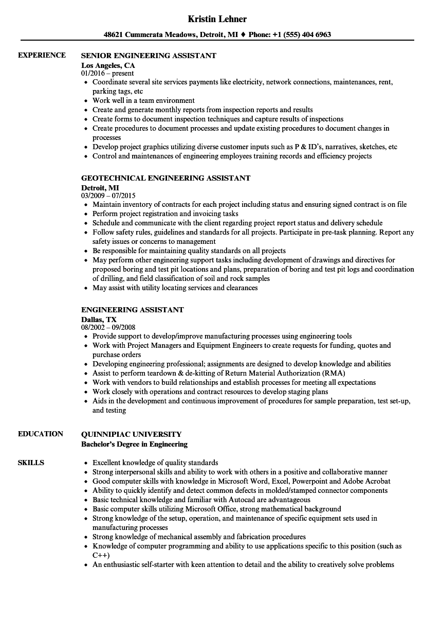 engineering assistant resume samples velvet jobs