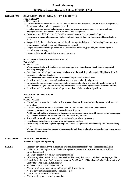 engineering associate resume samples