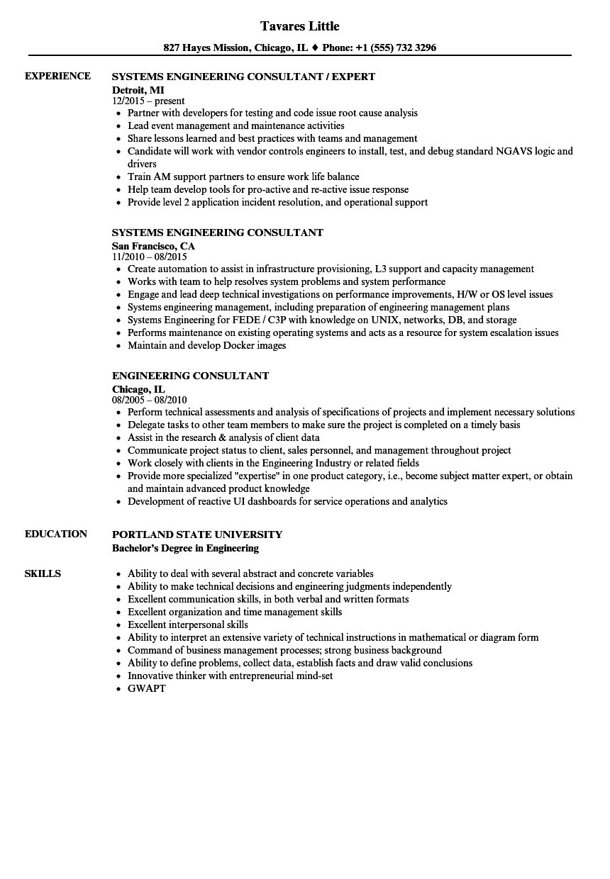 engineering consultant resume samples