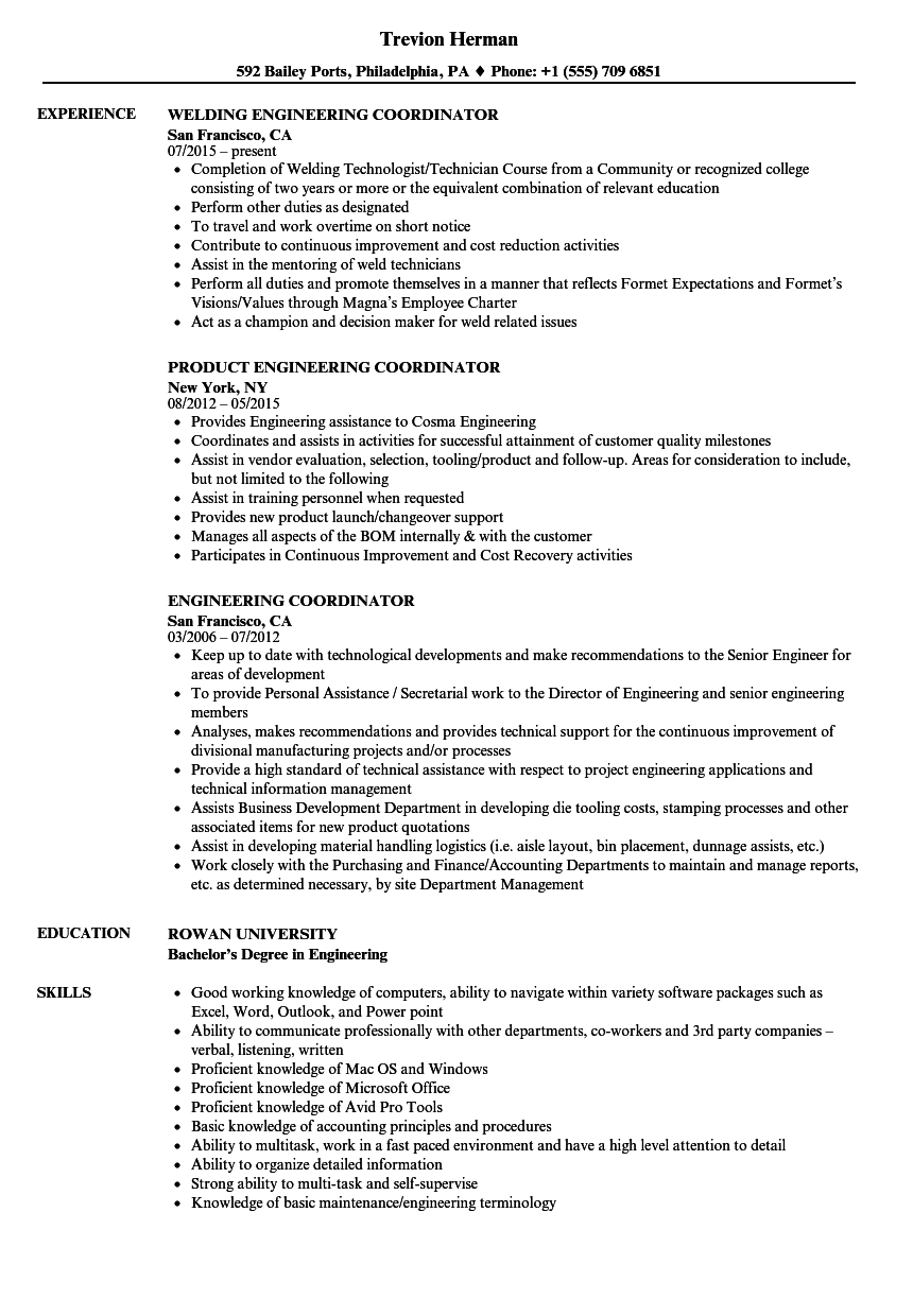 Download Engineering Coordinator Resume Sample As Image File