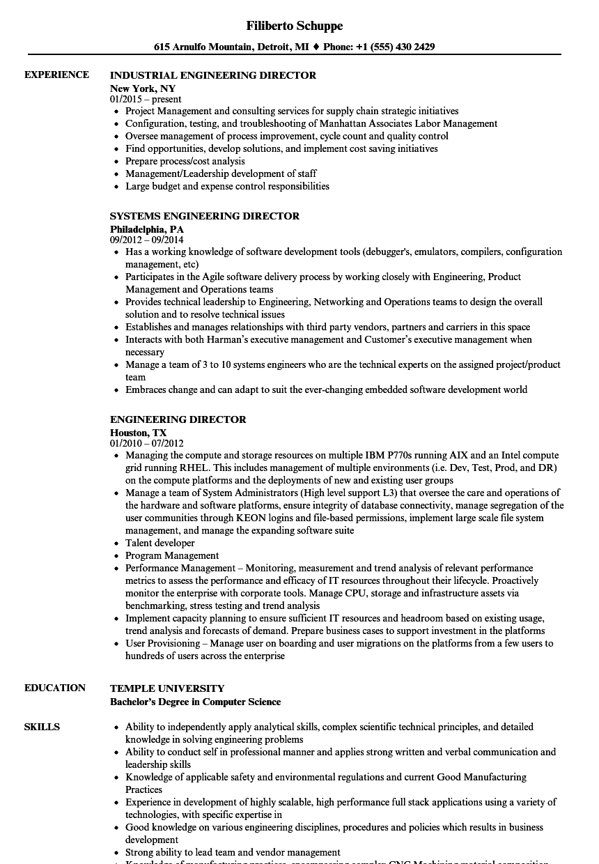 engineering director resume samples