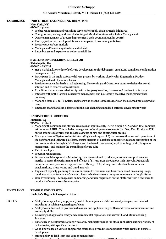 Engineering Director Resume Samples | Velvet Jobs
