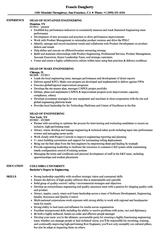 Engineering Head Resume Samples Velvet Jobs