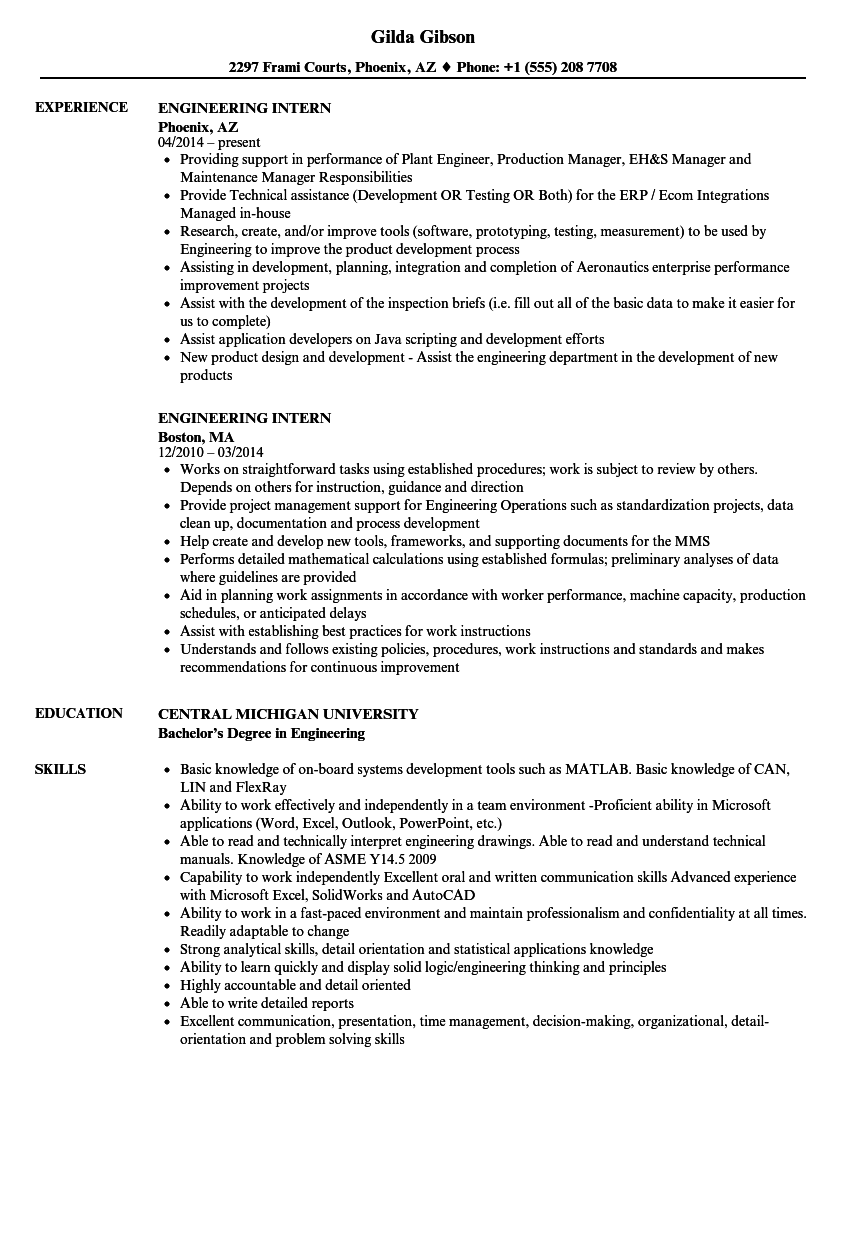 engineering intern resume samples