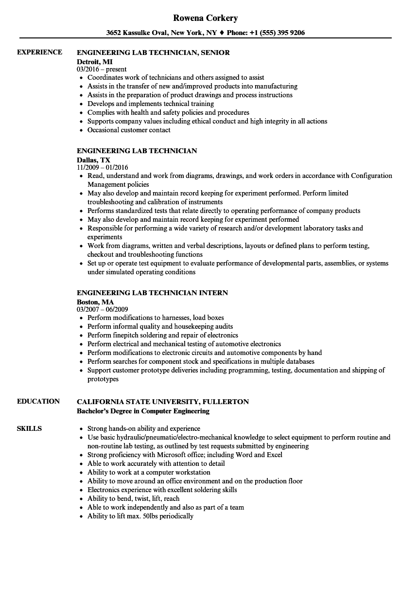 Engineering Lab Technician Resume Samples | Velvet Jobs