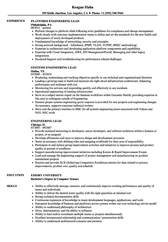 engineering lead resume samples