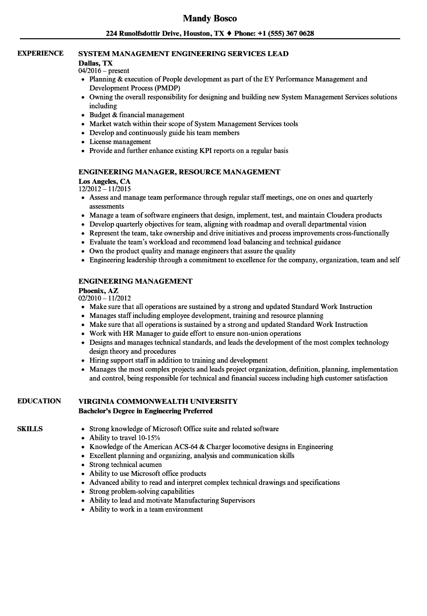 Engineering Management Resume Samples  Velvet Jobs
