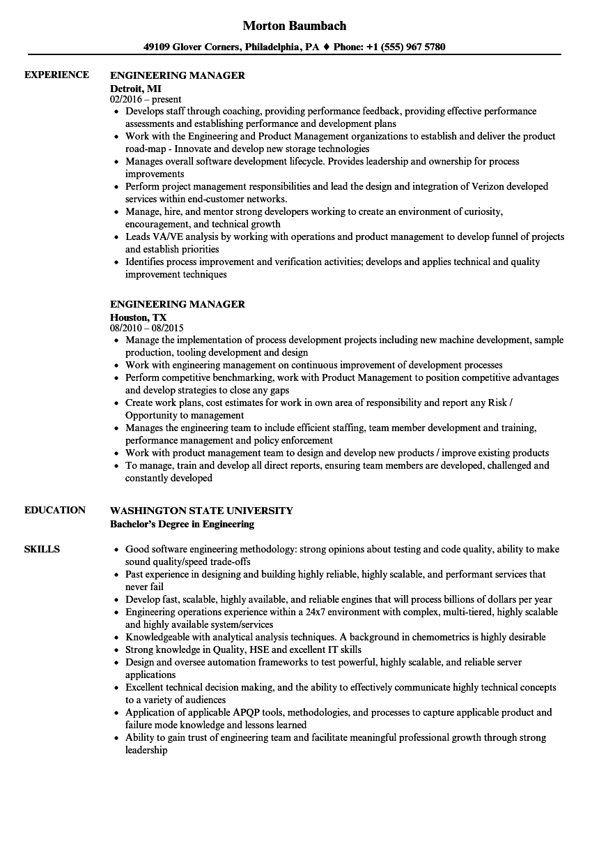 Engineering Manager Resume Samples Velvet Jobs