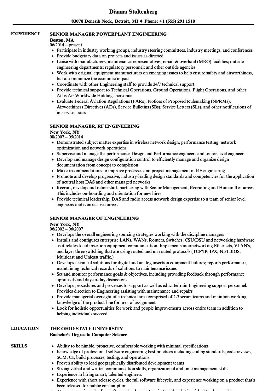 engineering manager    senior manager resume samples