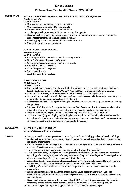 Engineering Mgr Resume Samples | Velvet Jobs
