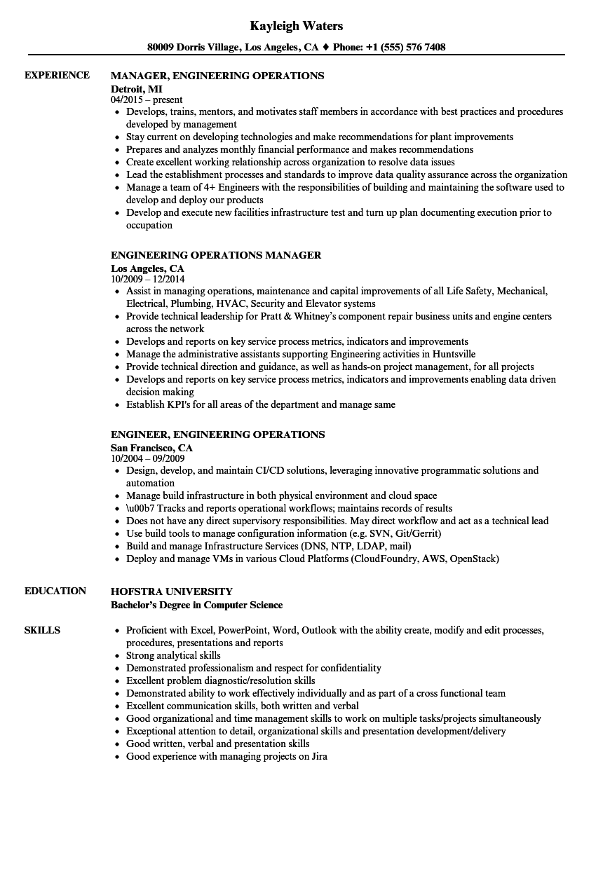 Engineering Operations Resume Samples | Velvet Jobs