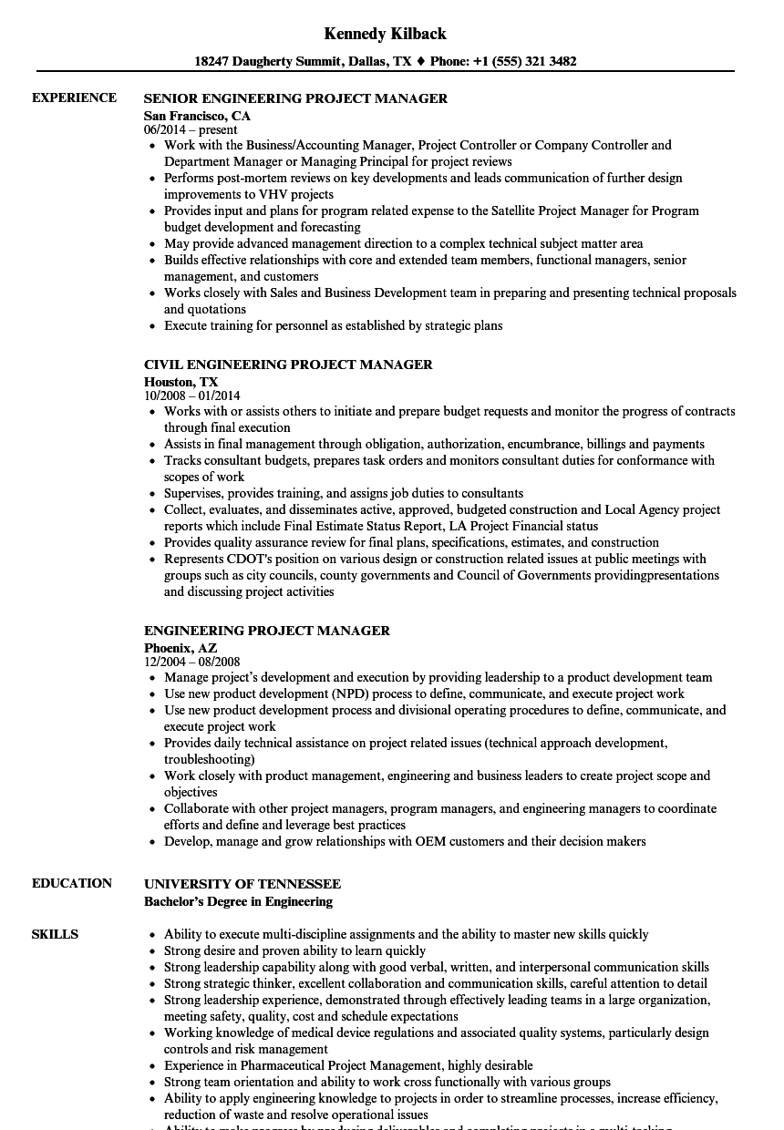 Engineering Project Manager Resume Samples Velvet Jobs