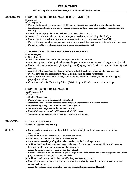 Engineering Services Manager Resume Samples | Velvet Jobs