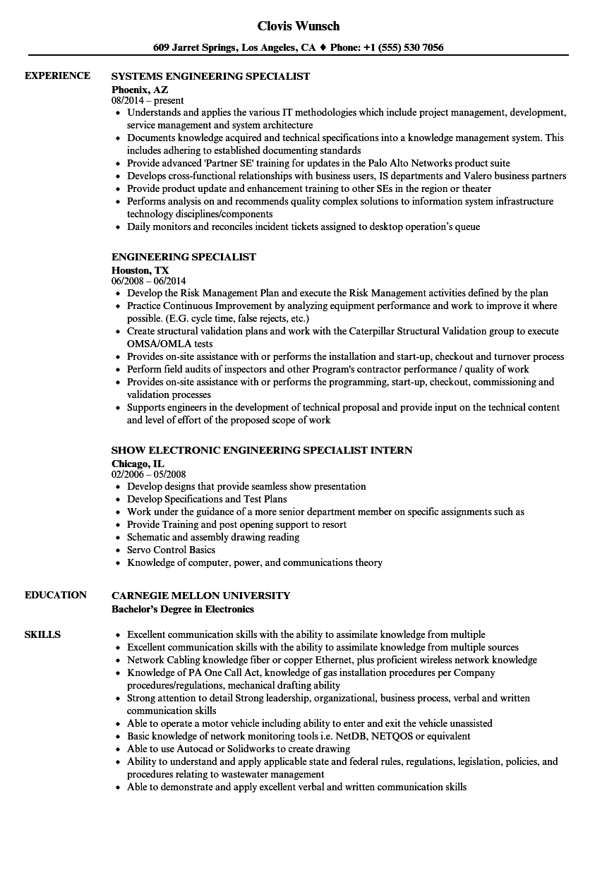 Engineering Specialist Resume Samples | Velvet Jobs