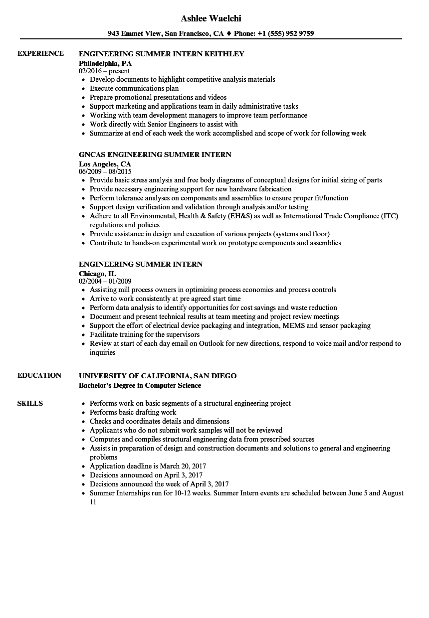 Engineering Summer Intern Resume Samples | Velvet Jobs