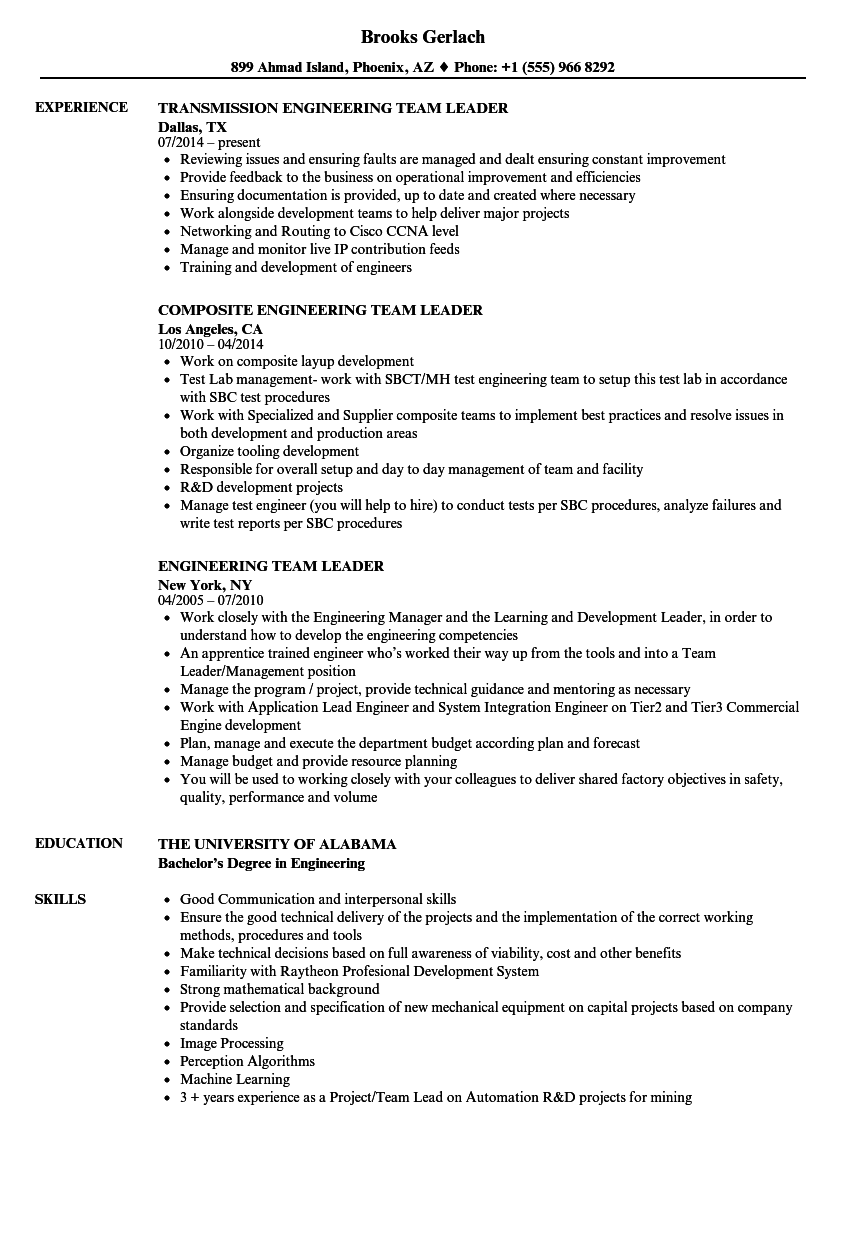 Engineering Team Leader Resume Samples | Velvet Jobs