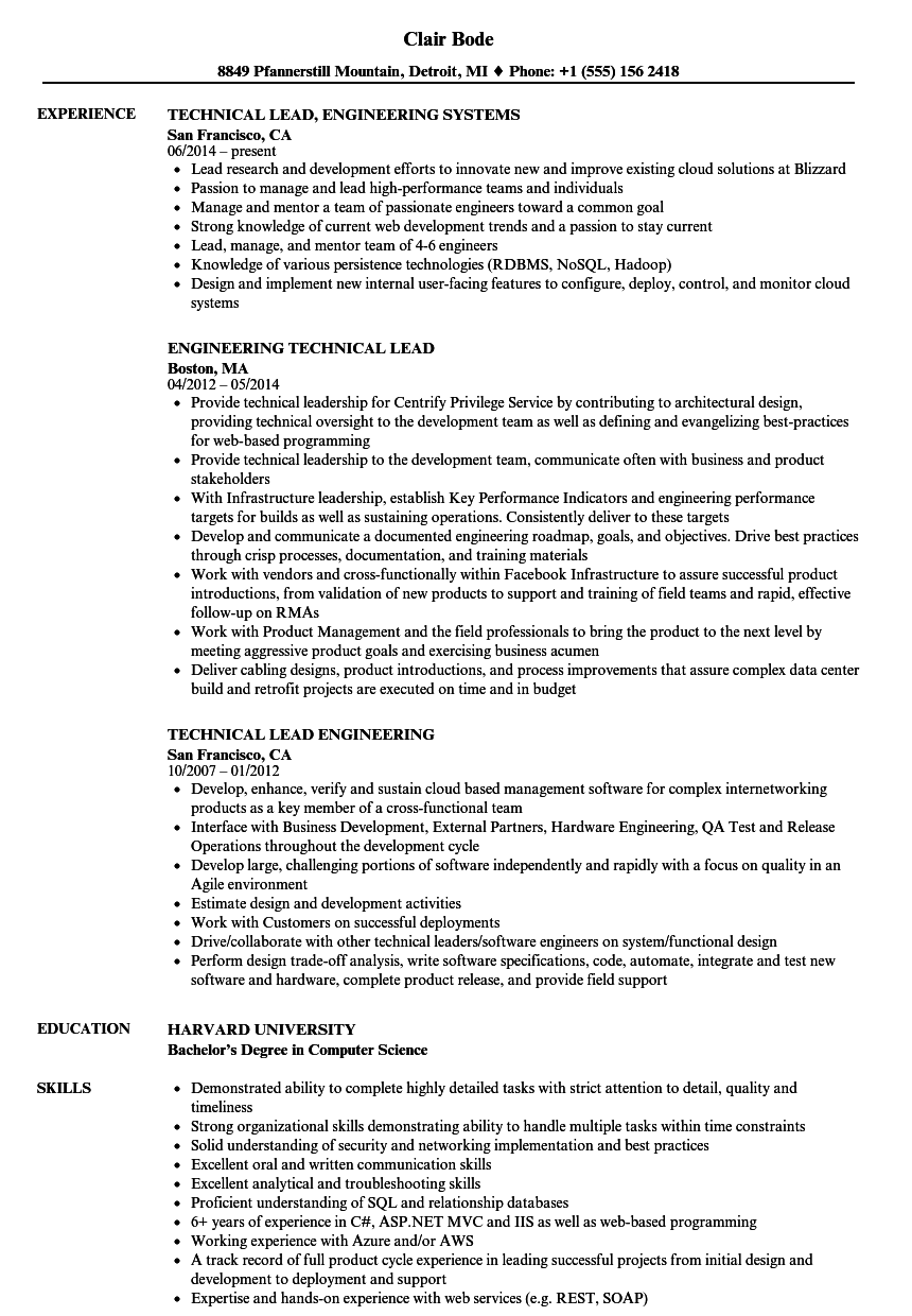 engineering technical lead resume samples