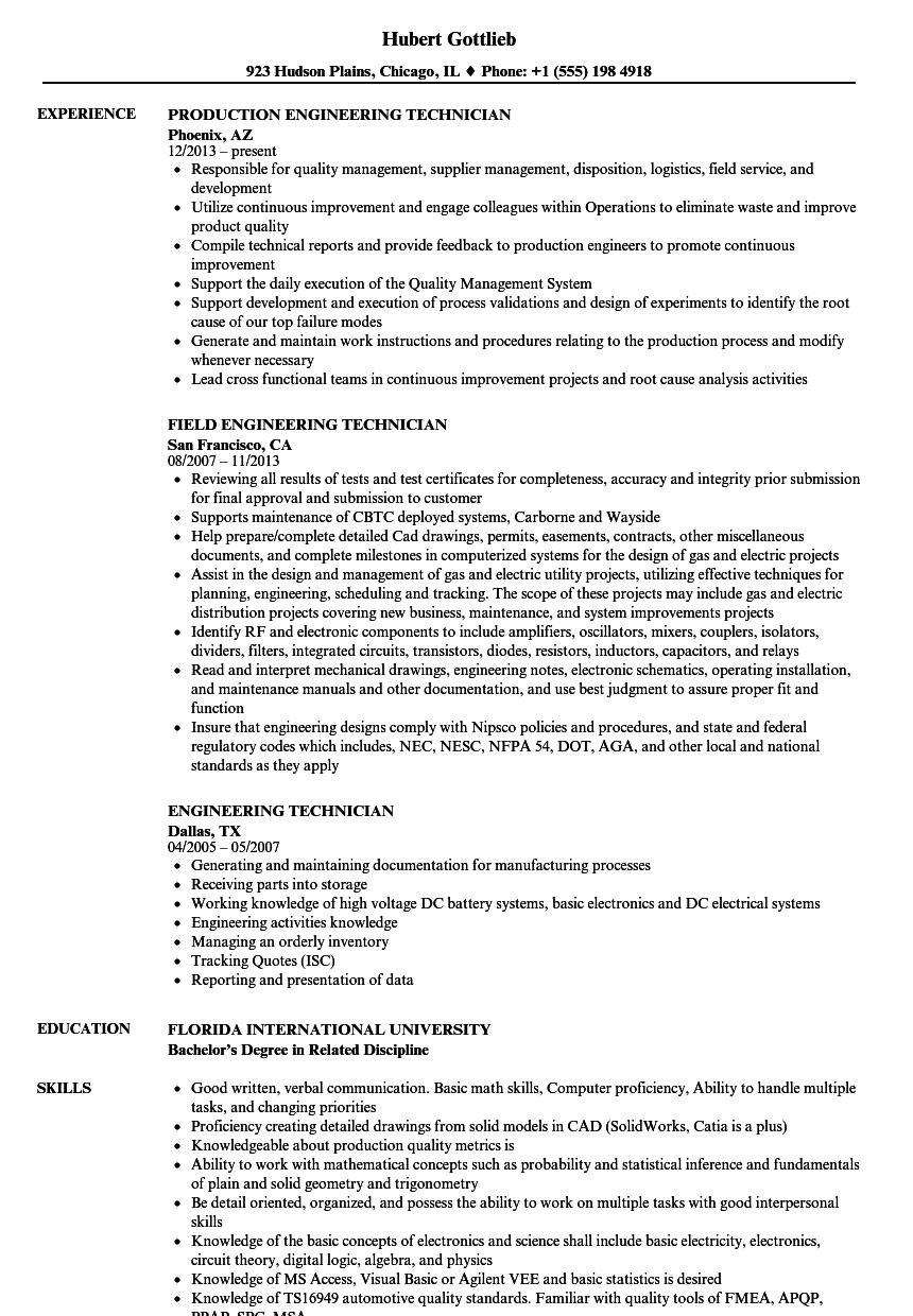 Engineering Technician Resume Samples | Velvet Jobs