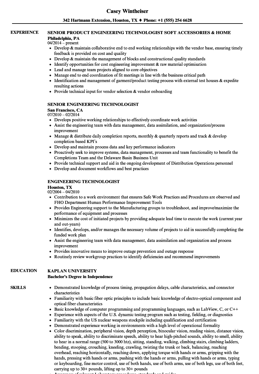 engineering technologist resume samples