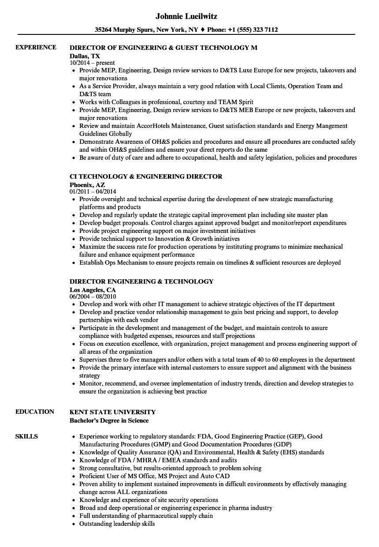 engineering technology resume samples