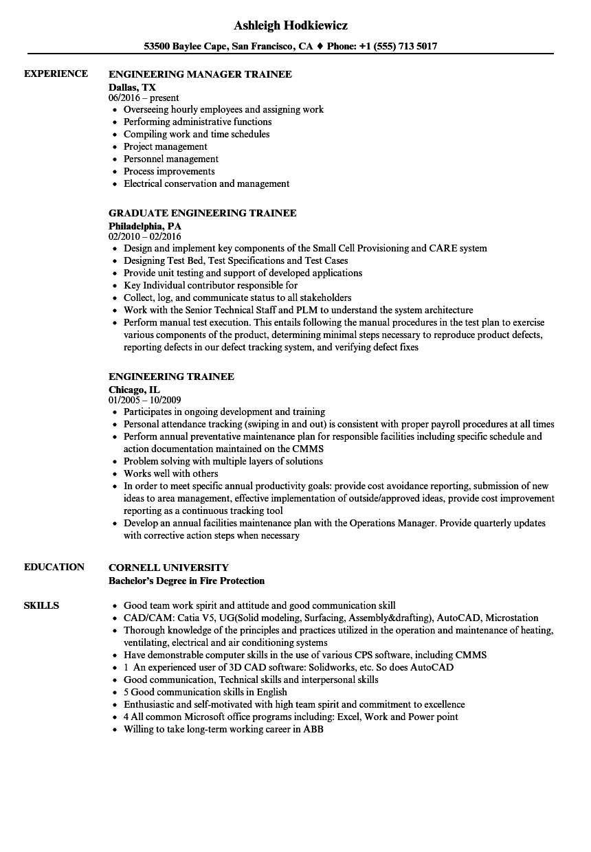 Engineering Trainee Resume Samples | Velvet Jobs