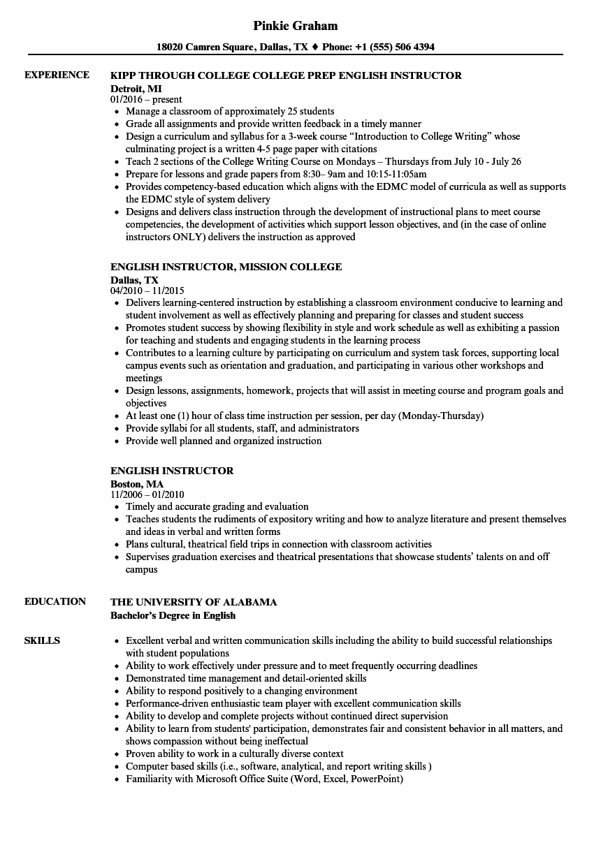 english instructor resume samples