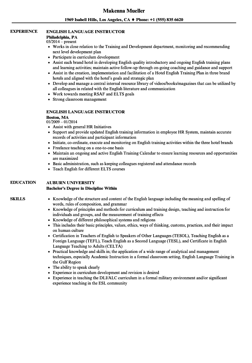 English Language Instructor Resume Samples | Velvet Jobs