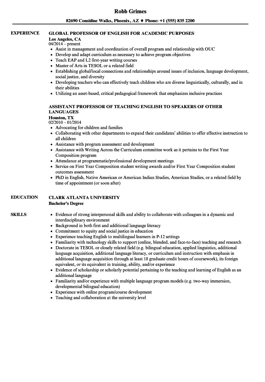 Download English Professor Resume Sample As Image File