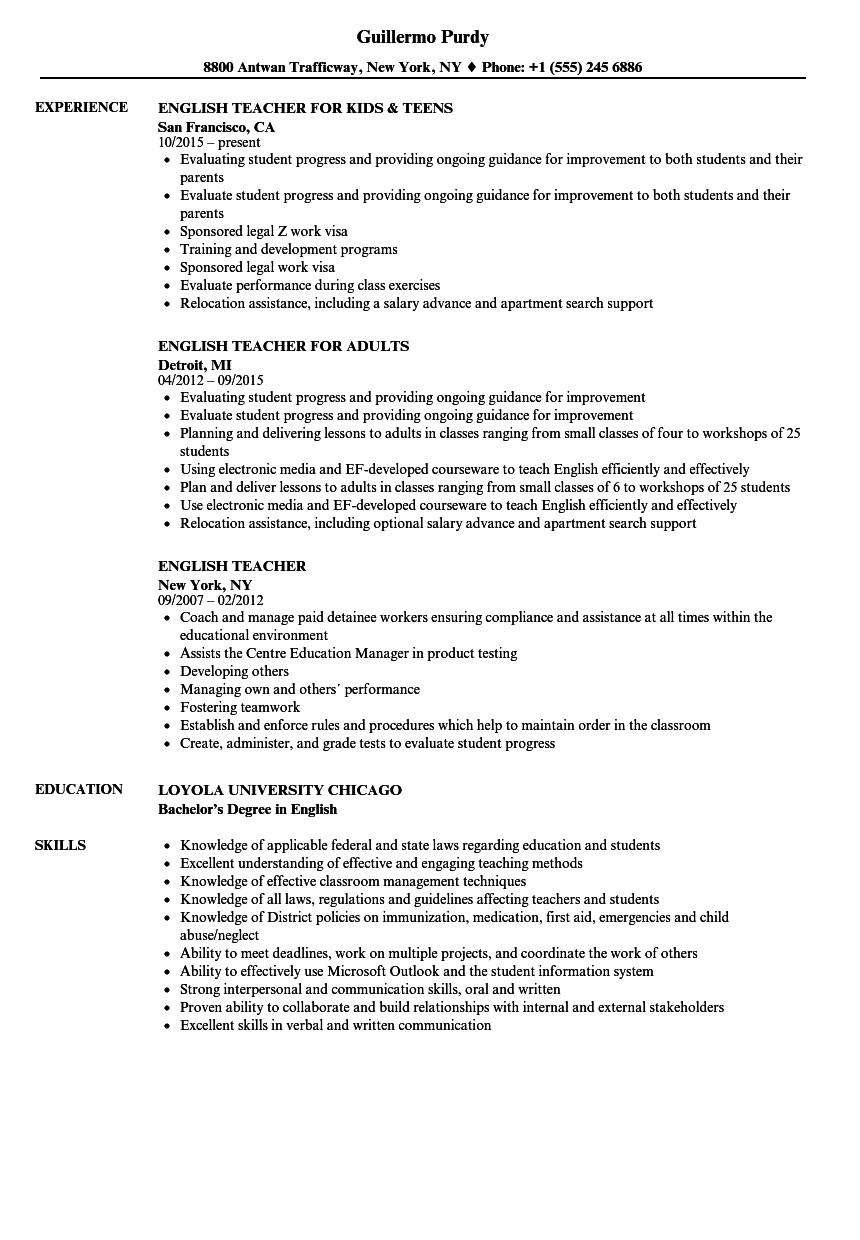English Teacher Resume Samples | Velvet Jobs
