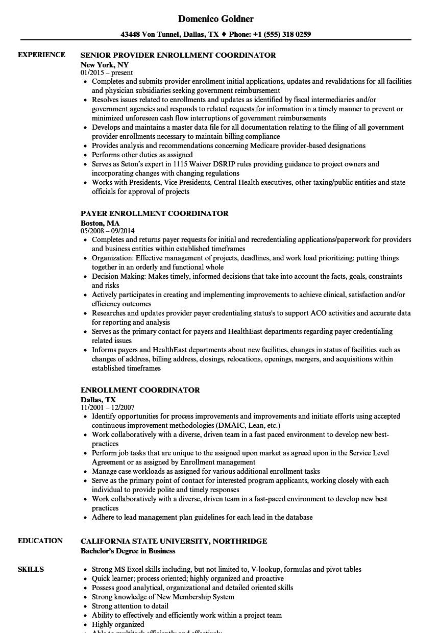 Enrollment Coordinator Resume Samples