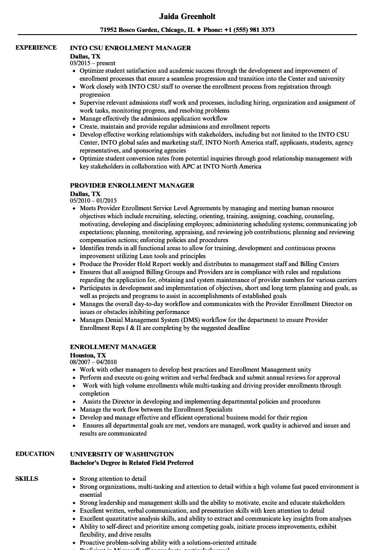 download enrollment manager resume sample as image file - Provider Enrollment Specialist Sample Resume