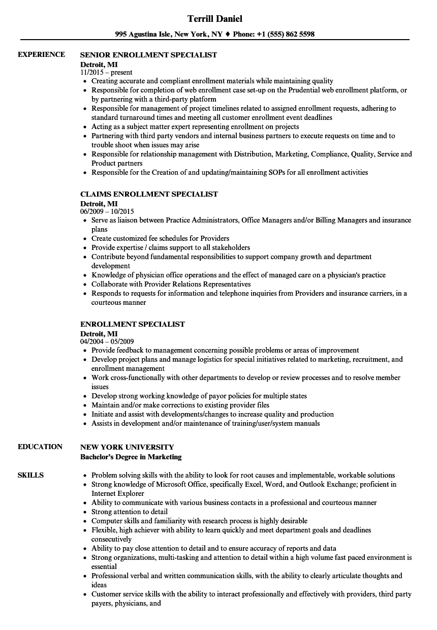 enrollment specialist resume samples