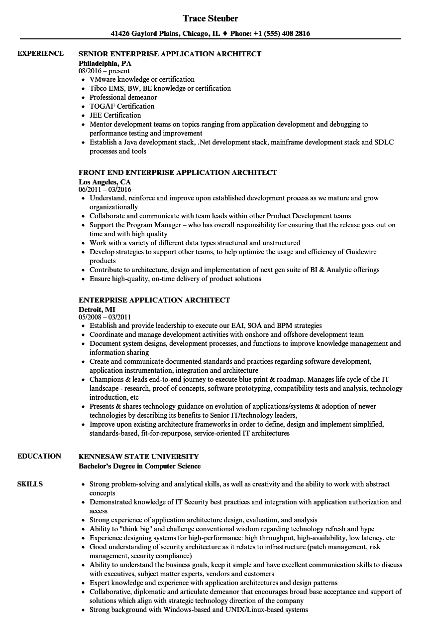 download enterprise application architect resume sample as image file - Application Architect Resume