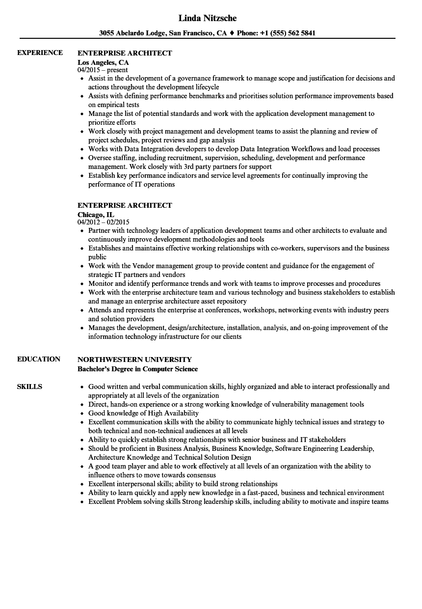 enterprise architect resume samples