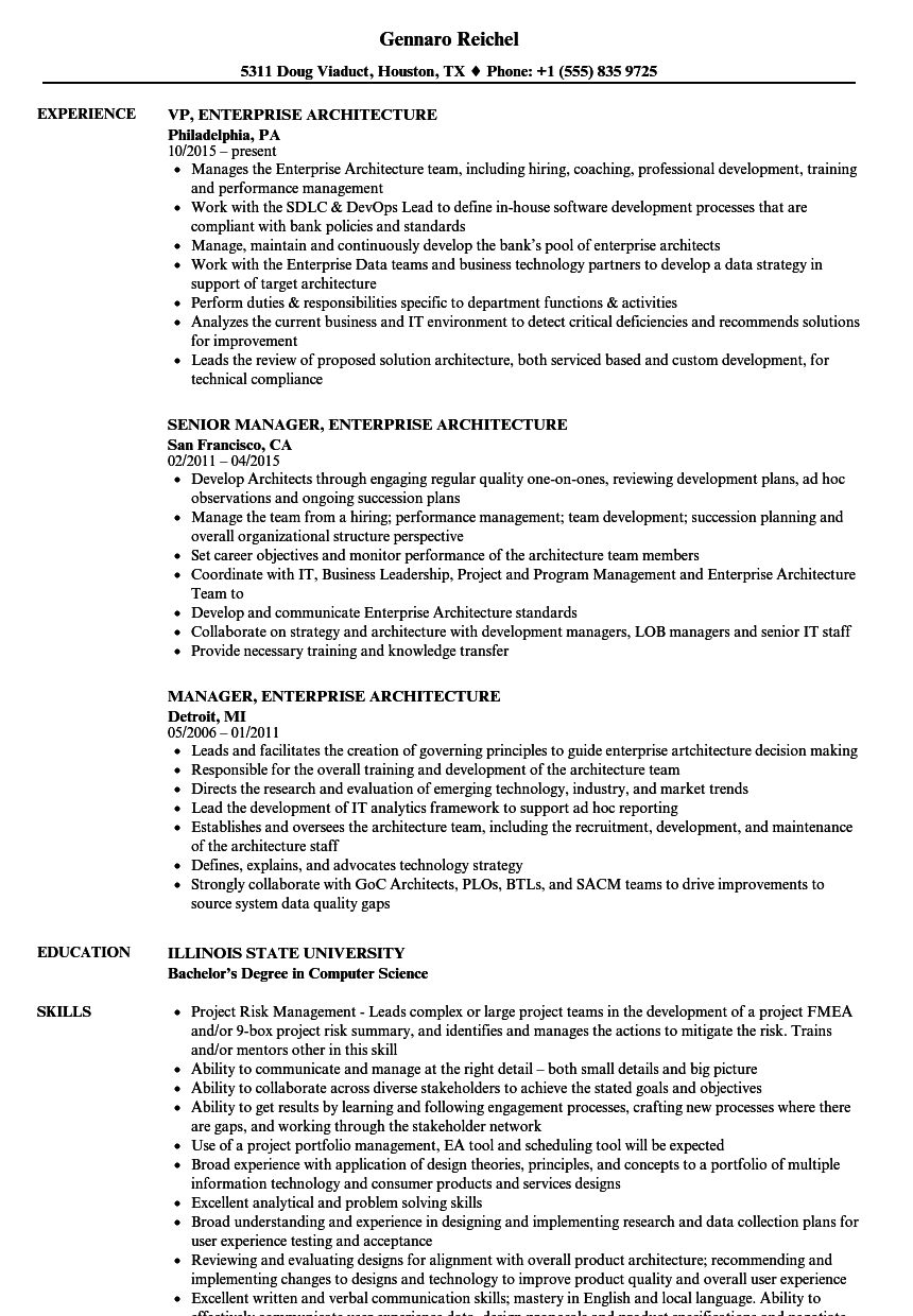 Download Enterprise Architecture Resume Sample As Image File