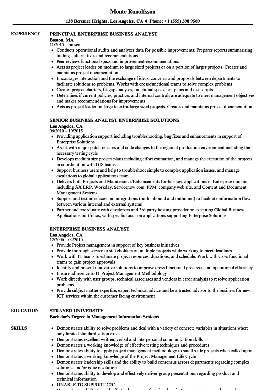 Enterprise Business Analyst Resume Samples Velvet Jobs