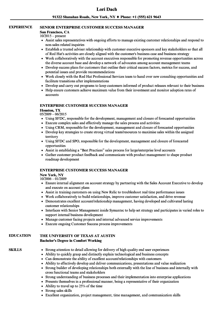 download enterprise customer success manager resume sample as image file - Customer Success Manager Resume